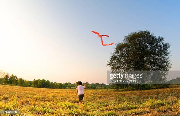 Boy & Kite in the rural field