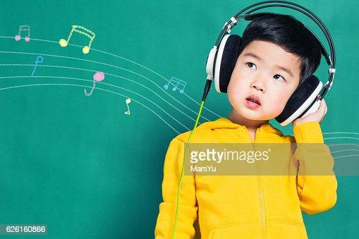 Boy Listening to Music Headphones : Foto stock