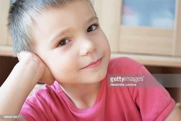 A boy looking at camera