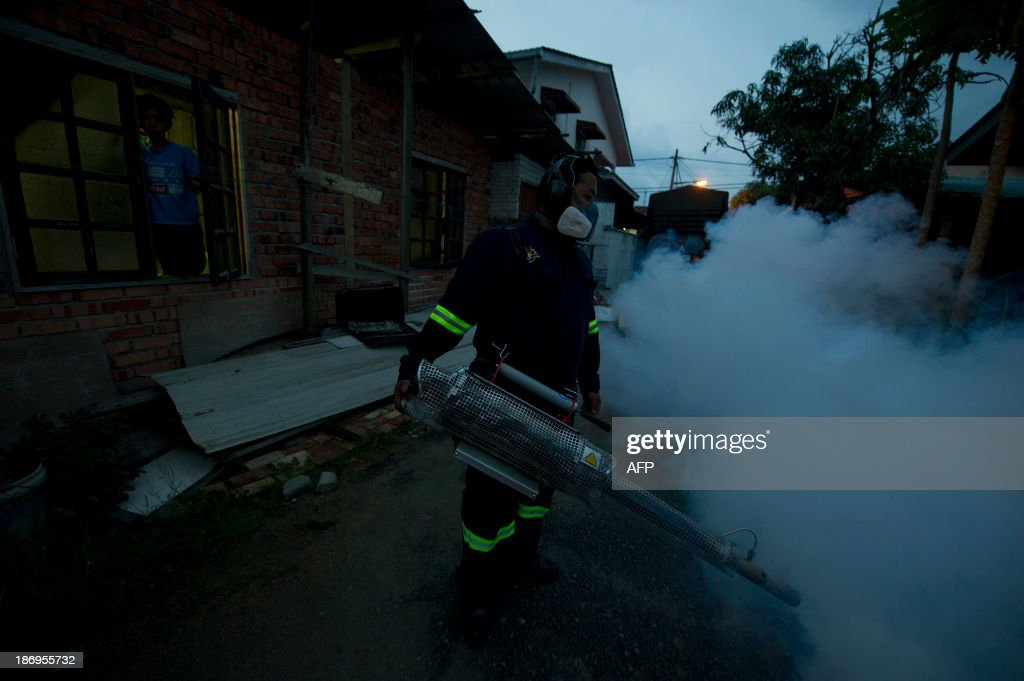 A boy (L) looks at a municipal council worker dispensing insecticide using a fogging machine among residential houses in Gombak, on the outskirt of Kuala Lumpur on November 5, 2013. A Malaysian health official on November 4, warned citizens to take steps to eliminate mosquito breeding spots as dengue fever cases have spiked.