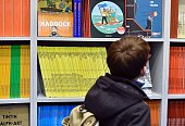 A boy looks at comic books on January 28 2016 in Angouleme as part of the 43rd International comics festival / AFP / GEORGES GOBET