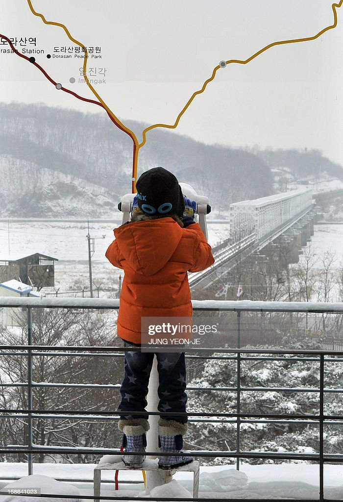 A boy looks at the North side from an observation tower of Imjingak peace park in Paju near the Demilitarized Zone (DMZ) dividing the two Koreas on January 1, 2013. North Korean leader Kim Jong-Un called on January 1, 2013 for an easing of tensions with the South and flagged a 'radical turnabout' in the national economy in a rare voiced message broadcast on state television.