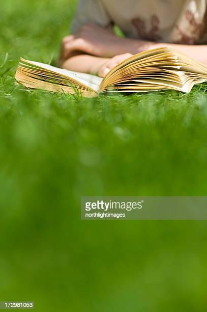 Niño leyendo libro al aire libre