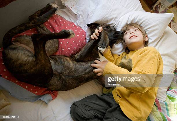 A boy lying on a bed with a dog