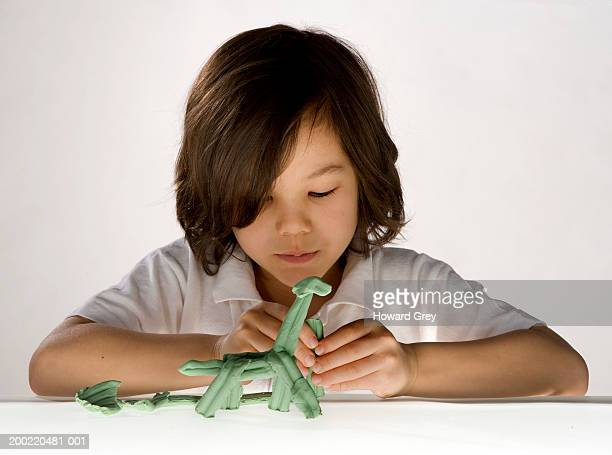 Boy (6-8) making animal from play clay, close-up