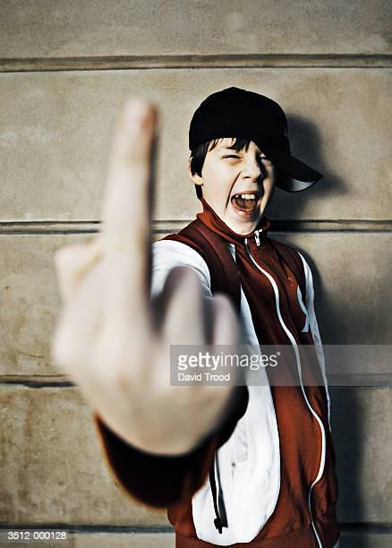 Boy Making Rude Gesture