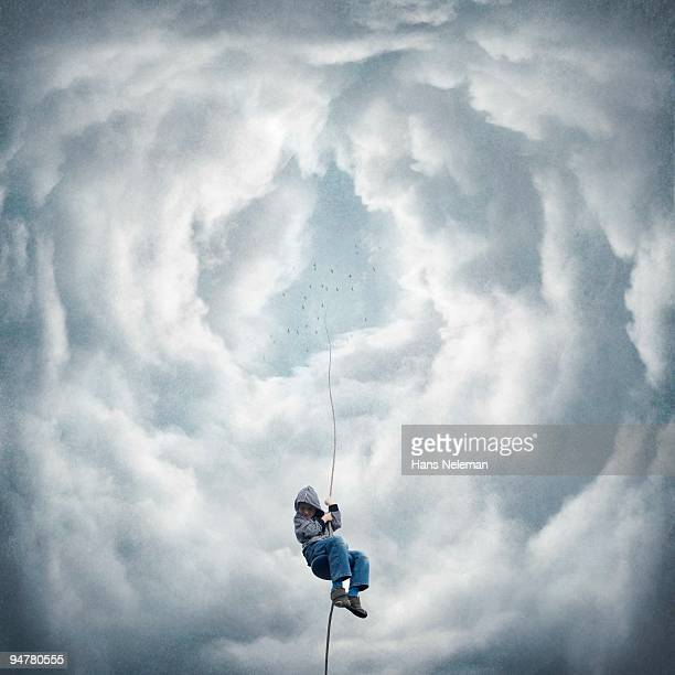 Boy moving down from the sky on a rope, Republic of Ireland