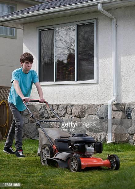 Boy Mows the Front Lawn -2