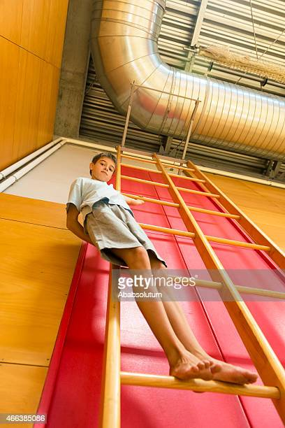 Boy of Eleven High on Gymnastics Ladder, School Gymnasium, Europe