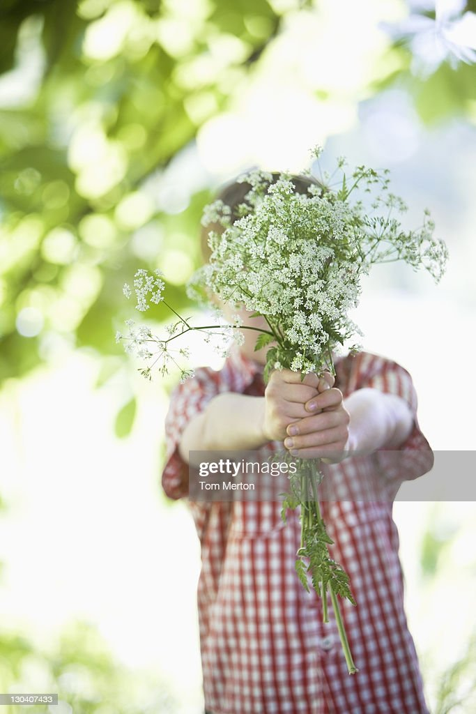 Boy offering bouquet of flowers : Stock Photo