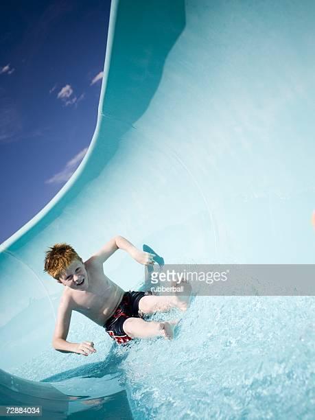 Boy on a waterslide