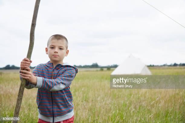 Boy on campsite