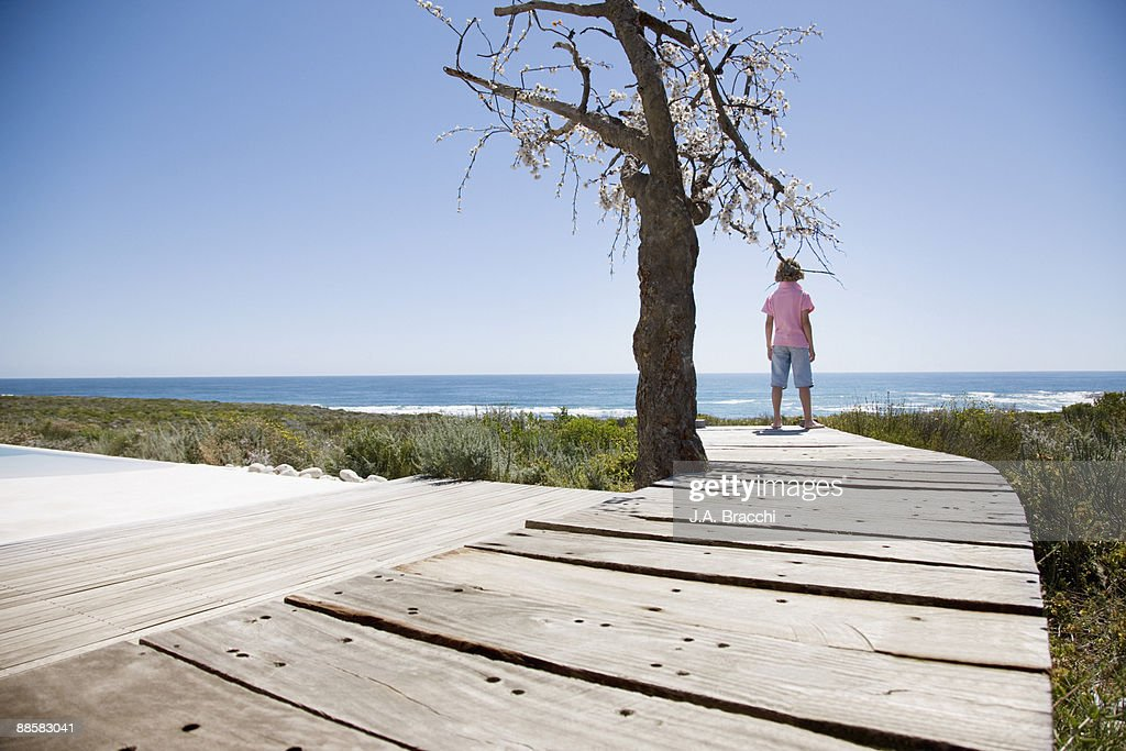 Boy on deck looking at ocean : Stock Photo