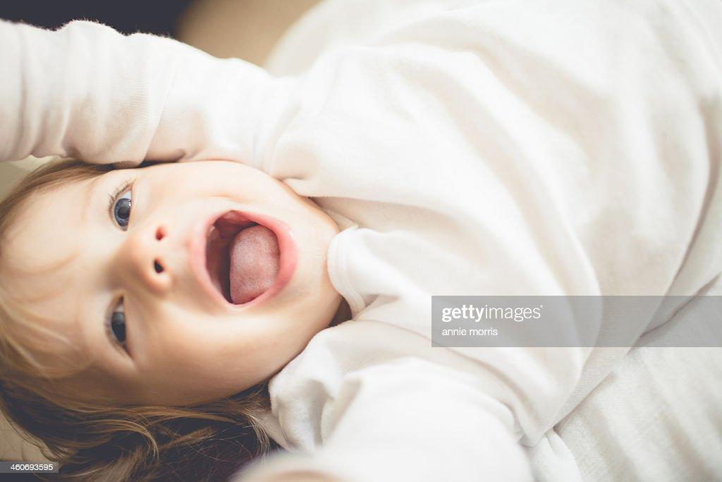 Boy on floor : Stock Photo