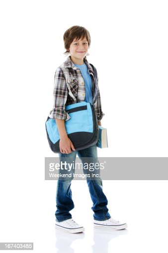 Boy on white background : Stock Photo