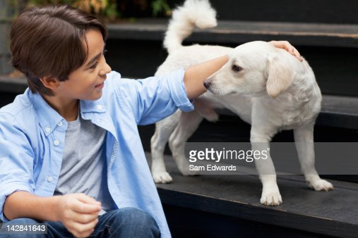 Boy petting puppy on steps outdoors : Stock Photo