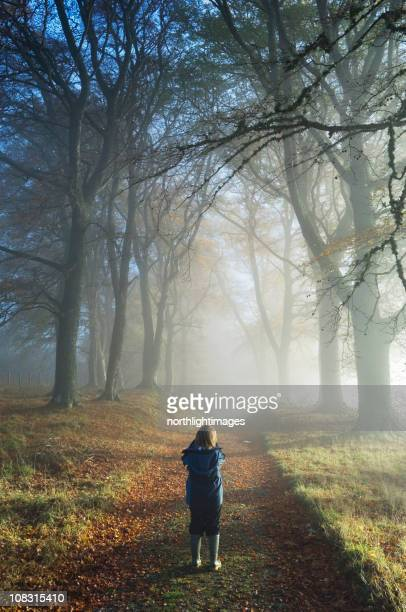 Boy photographing misty trees