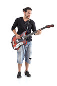 Boy playing bass isolated on a white background