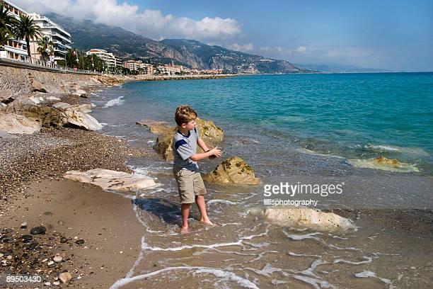 Boy Playing Beach French Riviera Mediterranean