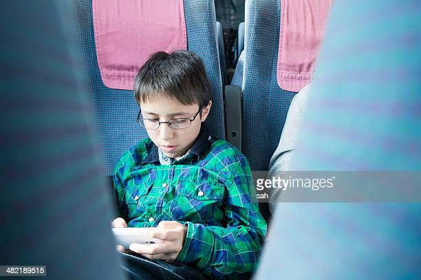 Boy playing computer game