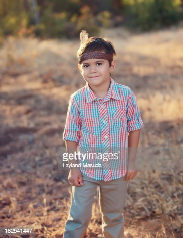 Boy Playing Indian : Stock Photo