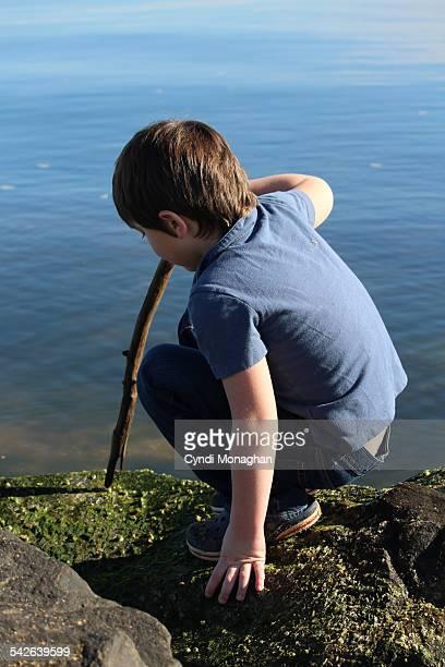 Boy playing next to water
