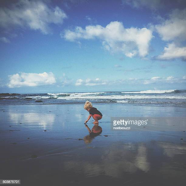 Boy (18-23 months) playing on beach