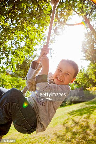 Boy playing on rope swing in backyard