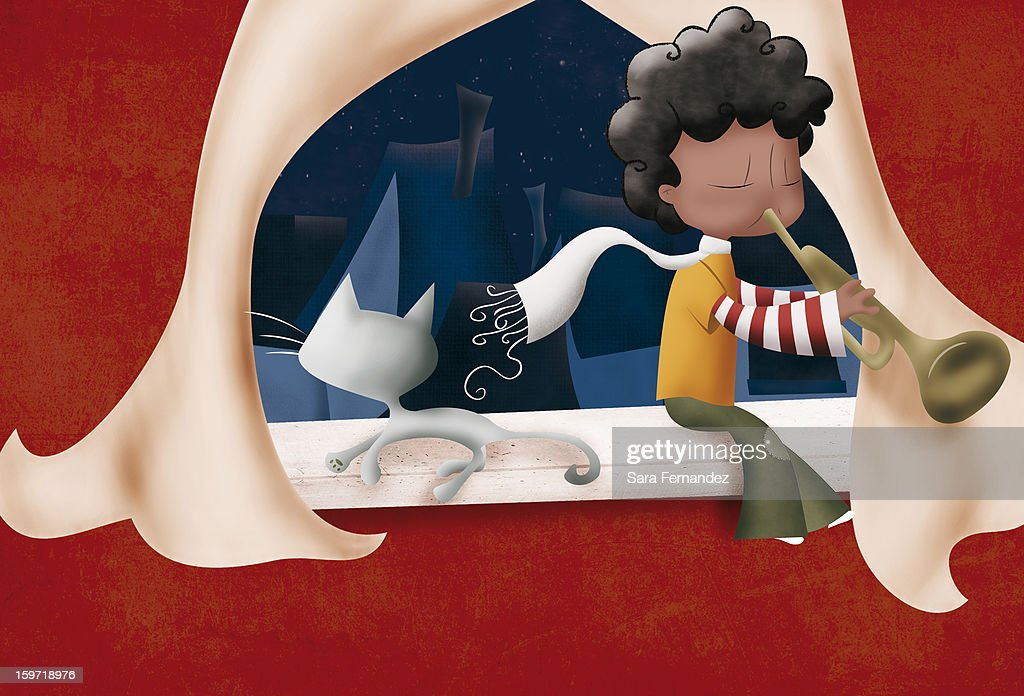 boy playing the trumpet : Stock Photo