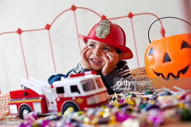 Boy playing Trick Or Treat
