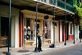 Boy playing trumpet in historic French Quarter, New Orleans, Louisiana