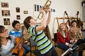 Boy playing trumpet