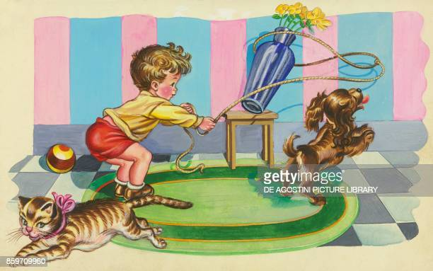 Boy playing with a lasso and his dog hits a vase as a cat runs away children's illustration drawing