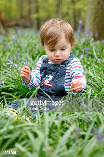 Boy playing with flowers in meadow