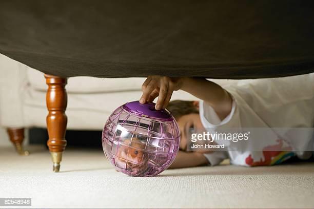 Petit garçon jouant avec hamster dans le monde entier