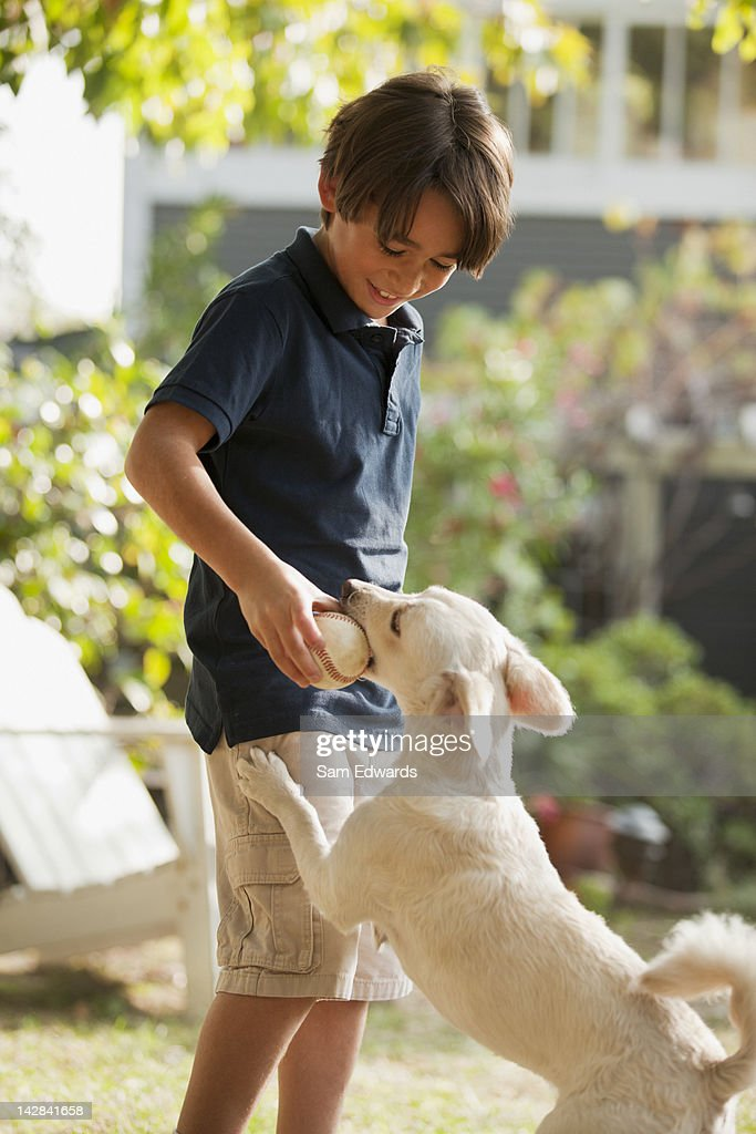 Boy playing with puppy outdoors : Stock Photo