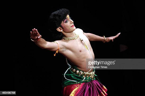 A boy presents an Indian classical dance form during the 30th All India Inter University Youth Festival 'Pravah 2015' held at DAVV University Khandwa...