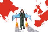 Positive confident cheerful boy imagining flying with jet pack wings all around the world, White background with world map, Child imagination and dreams