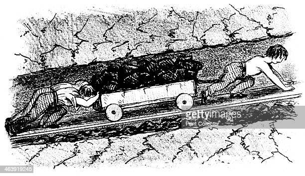 Boy 'putters' moving coal in a narrow seam Lancashire England 1848 From A Treatise on the Winning and Working of Collieries by Matthias Dunn