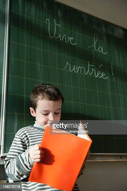 Boy reading in front of blackboard in classroom