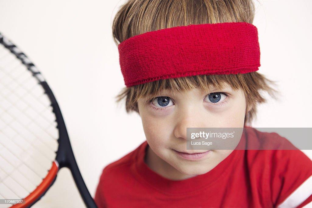 Boy Ready for Tennis : Stock Photo