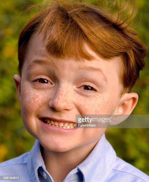 Boy Redhead with Freckles, Irish Child Smiling & Red Hair