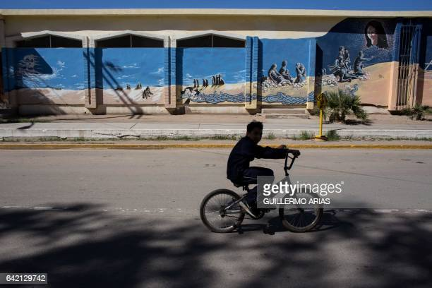 A boy rides a bicycle next to a mural honoring the dead migrants on the desert in Altar some 117 kilometres south the US/Mexico border on February 16...
