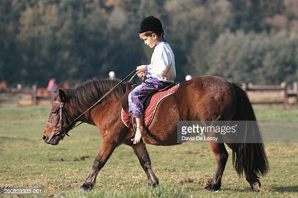 Boy (4-5) riding on pony, side view