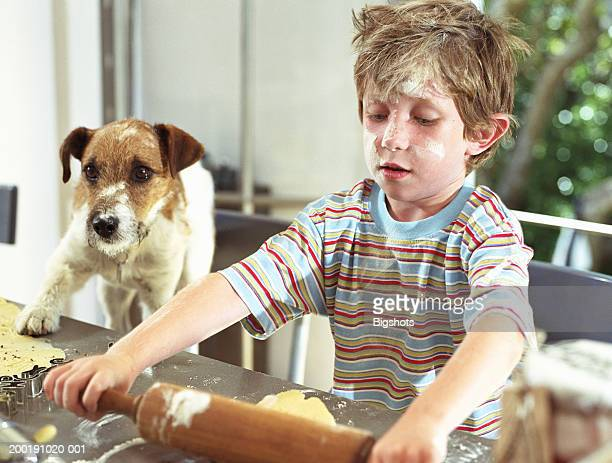 Boy (4-6) rolling out cookie dough next to dog with paw on counter