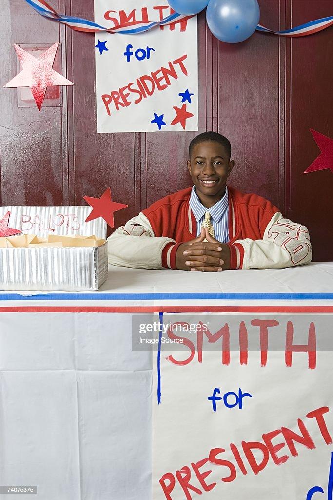Boy running for president : Stock Photo