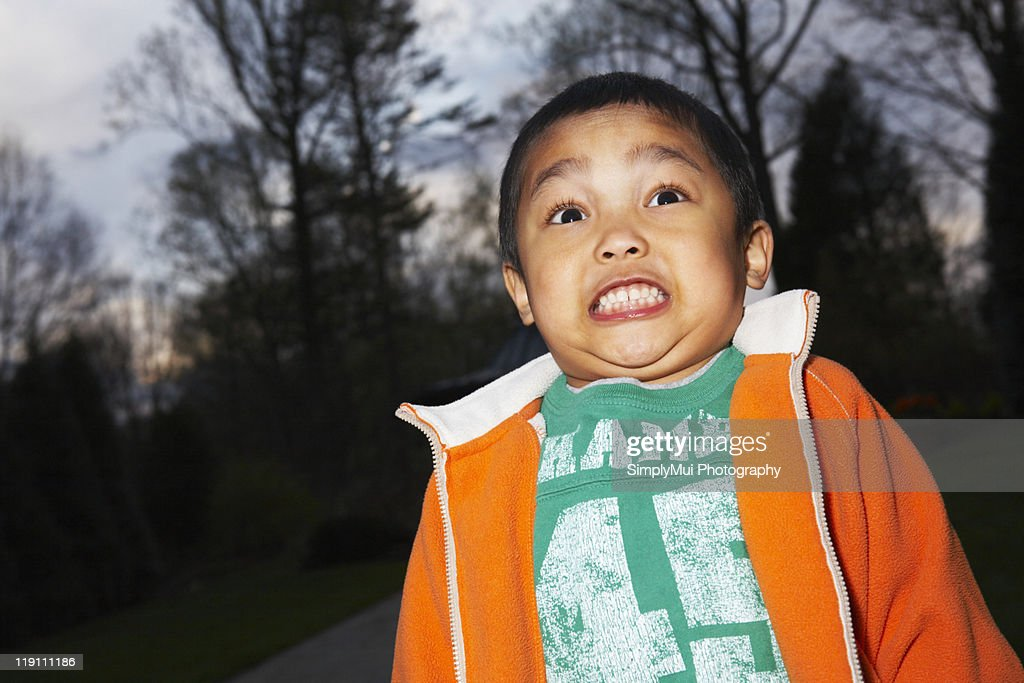 Boy scared of the dark : Stock Photo