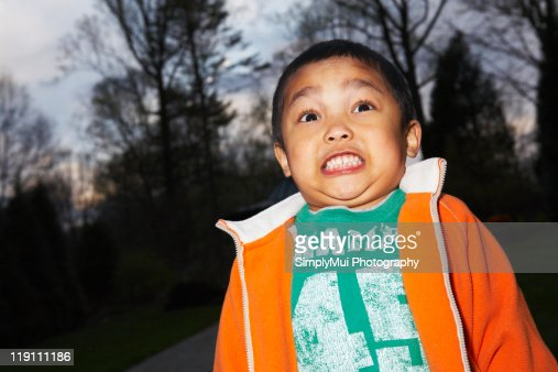 Boy scared of the dark : Foto de stock