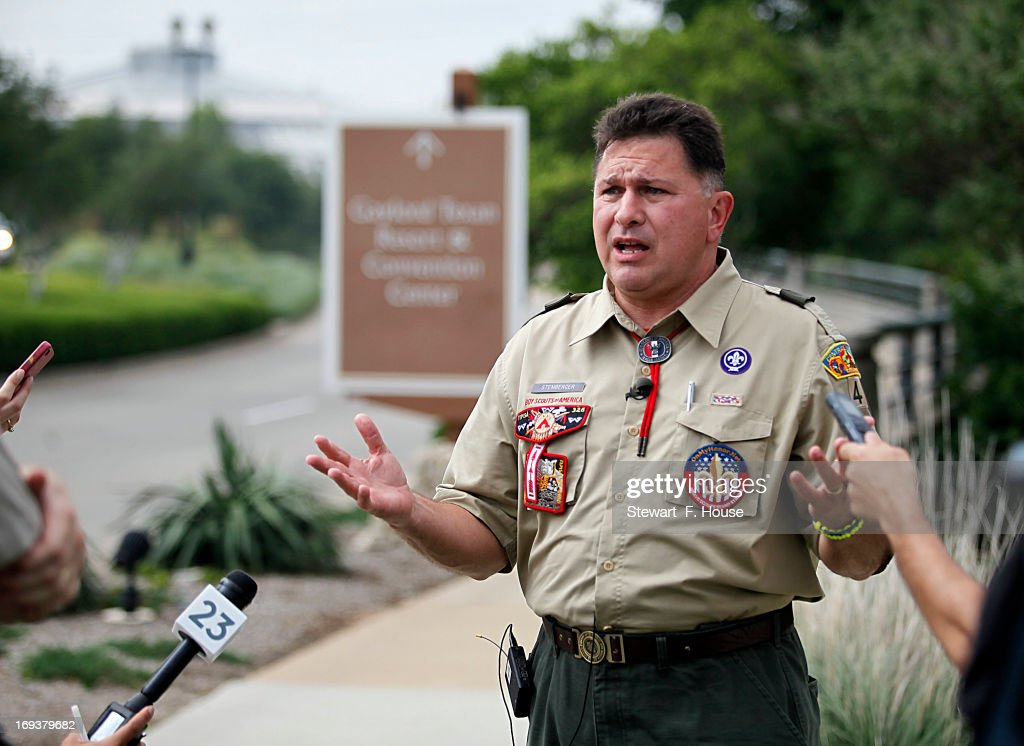Boy Scout leader John Stemberger, founder of Myhonor.net, speaks to reporters at the Gaylord Texan Resort May 23, 2013 in Grapevine, Texas. The Boy Scouts of America today ended its policy of prohibitting openly gay youths from participating in Scout activities, while leaving intact its ban on gay adults and leaders.