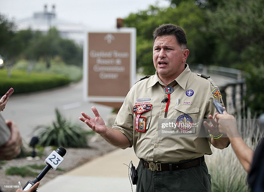 Boy Scout leader John Stemberger, founder of onmyhonor.net, speaks to reporters at the Gaylord Texan Resort May 23, 2013 in Grapevine, Texas. The Boy Scouts of America today ended its policy of prohibitting openly gay youths from participating in Scout activities, while leaving intact its ban on gay adults and leaders. Onmyhonor.net website says it supports 'Scouting's timeless values and their opposition to open homosexuality in the Scouts.